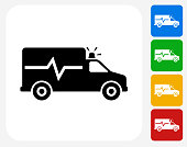 Ambulance Icon Flat Graphic Design