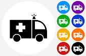 Ambulance Icon on Flat Color Circle Buttons