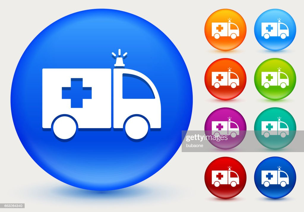 Ambulance Icon on Shiny Color Circle Buttons : Vector Art