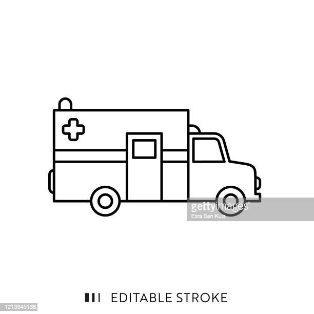 ambulance icon with editable stroke and pixel perfect. - ambulance stock illustrations