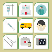 Ambulance icons vector medicine health emergency hospital urgent pharmacy pill support paramedic treatment