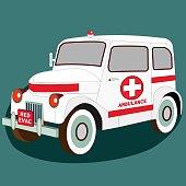Ambulance Med evac retro car. Isometric 3D view of classic vehicle