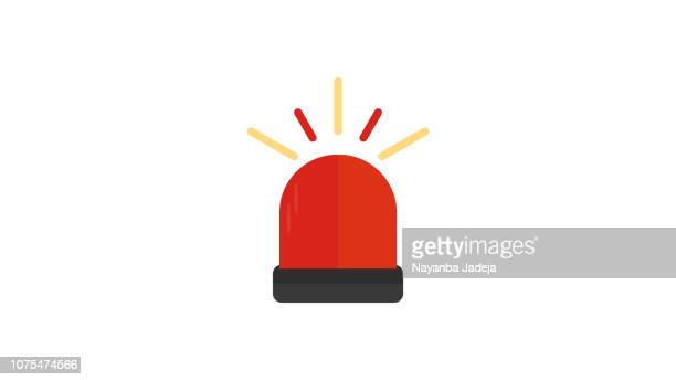 ambulance, police siren flat icon - accidents and disasters stock illustrations