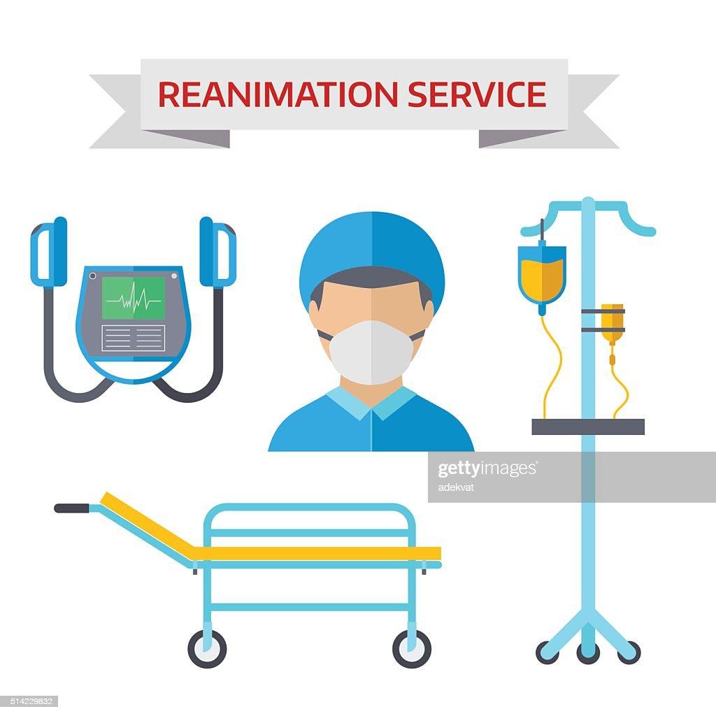 Ambulance reanimation symbols vector illustration