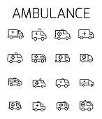 Ambulance related vector icon set.