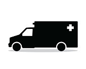 ambulance silhouette design illustration, silhouette style design