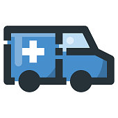 Ambulance Vector Filled Line Icon 32x32 Pixel Perfect. Editable 2 Pixel Stroke Weight. Colorful Medical Health Icon for Website Mobile App Presentation