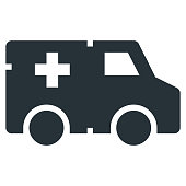 Ambulance Vector Glyph Icon 32x32 Pixel Perfect. Medical Health Icon in Bold Style for Website Mobile App Presentation