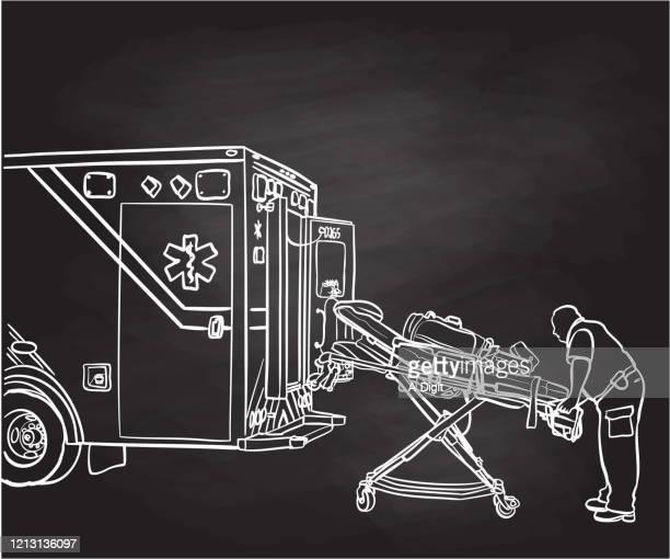 ambulance worker and essential equipment chalkboard - ambulance stock illustrations
