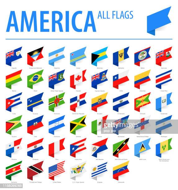 America All Flags - Vector Isometric Label Rectangle Flat Icons