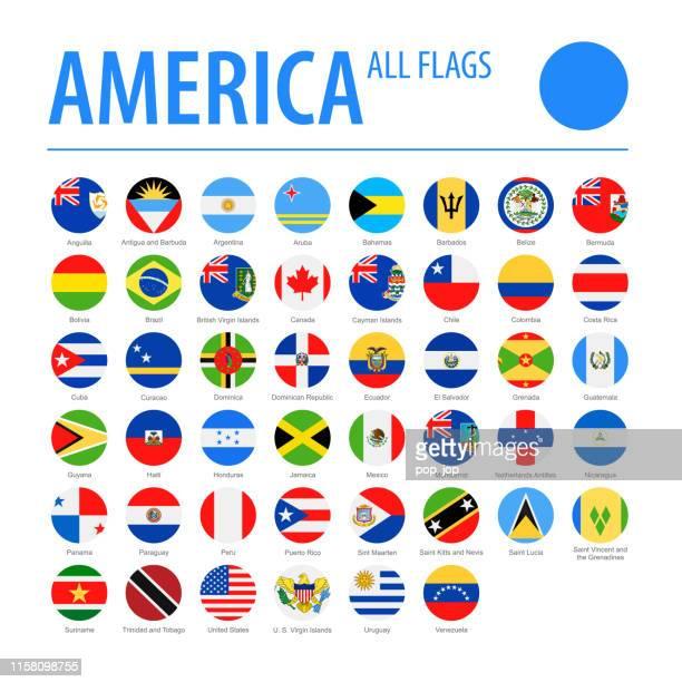 ilustraciones, imágenes clip art, dibujos animados e iconos de stock de america all flags - vector round flat icons - bandera argentina