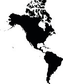 America black map on white background vector