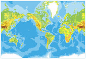 America Centered Physical World Map. No text and borders