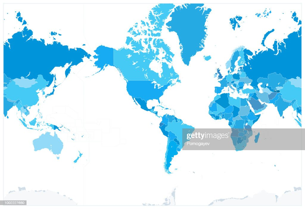 America Centered Political World Map Blue Colors. No text