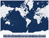 America Centered World Map and Navigation Map Pointers