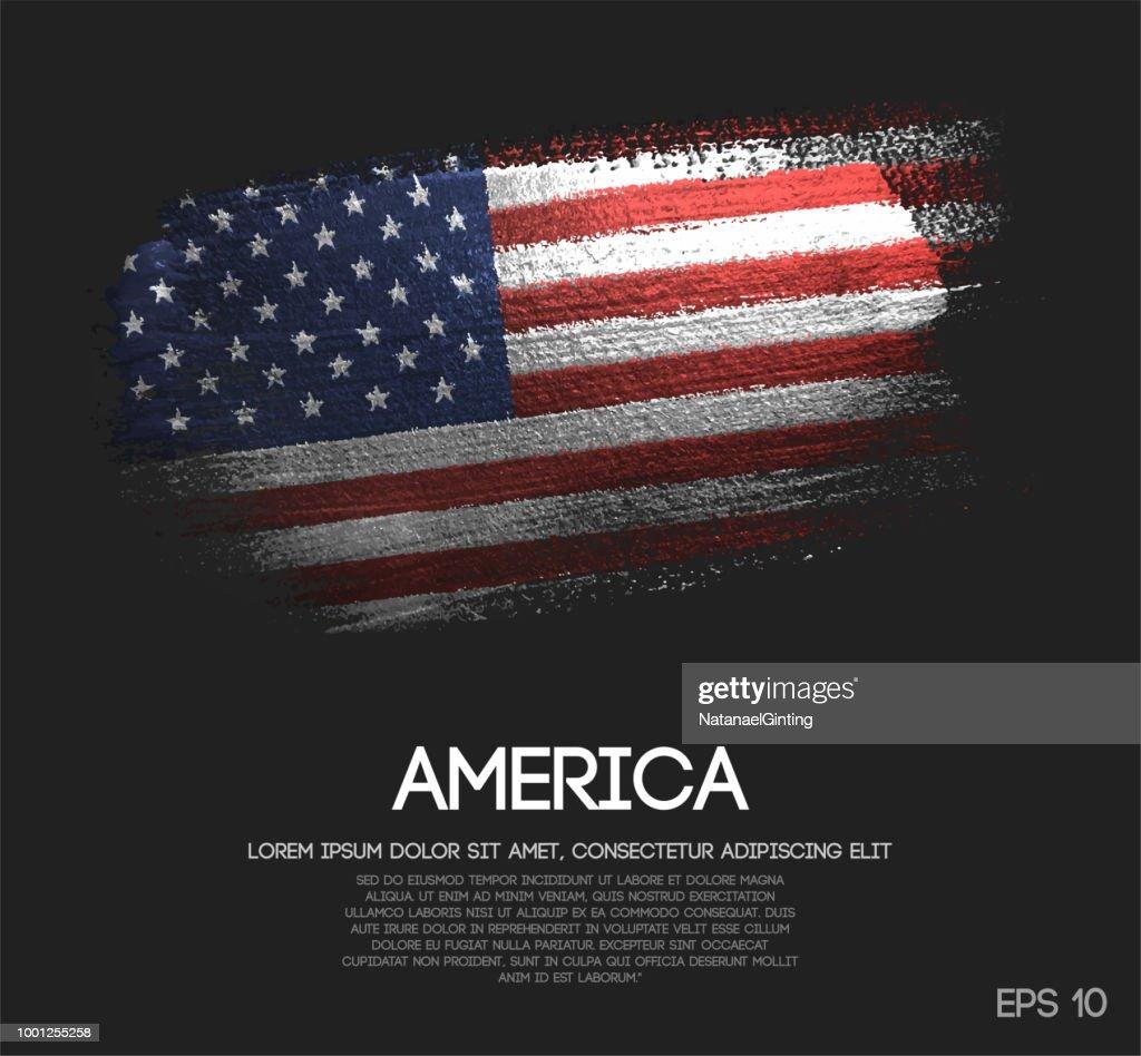 America Flag Made of Glitter Sparkle Brush Paint Vector