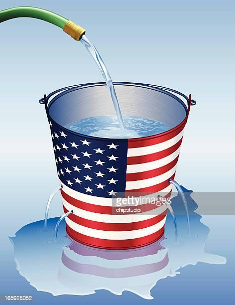 illustrations, cliparts, dessins animés et icônes de america-fuite - seau