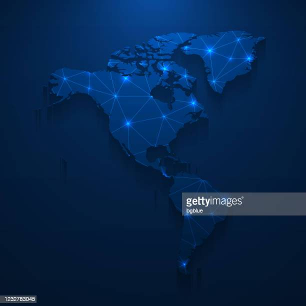 america map network - bright mesh on dark blue background - central america stock illustrations