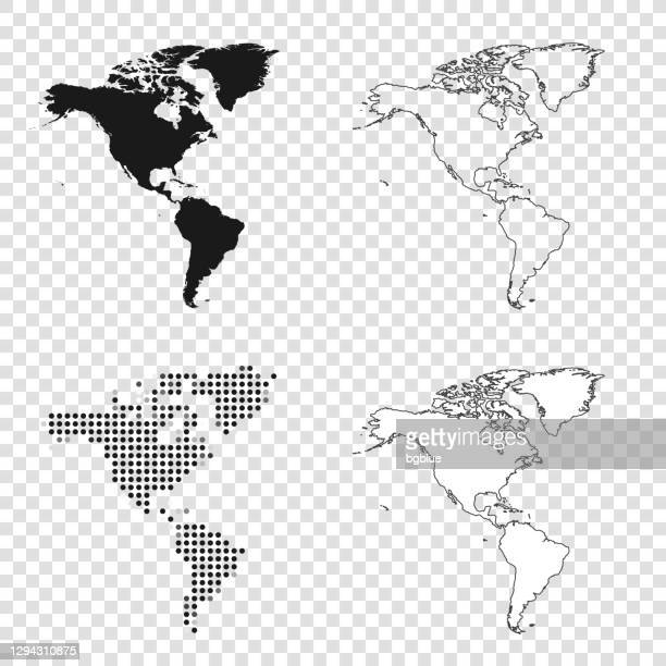 america maps for design - black, outline, mosaic and white - geographical locations stock illustrations