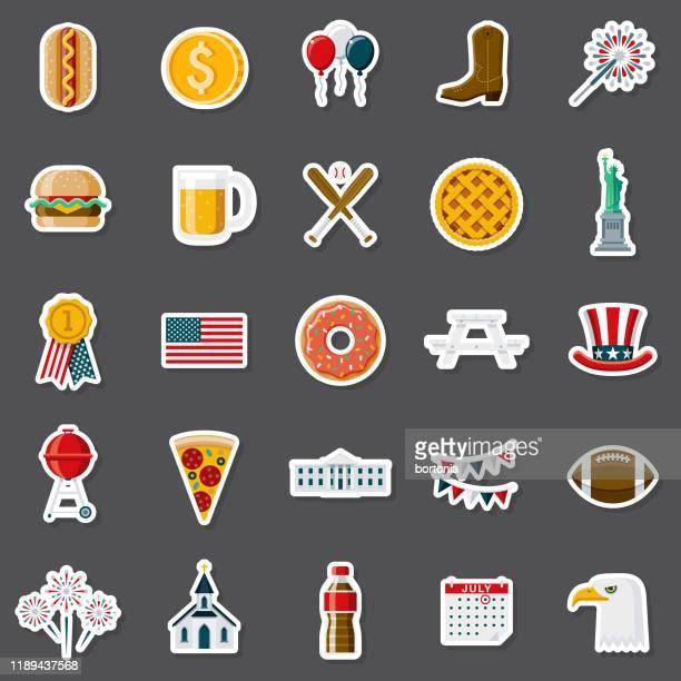 america sticker set - apple pie stock illustrations