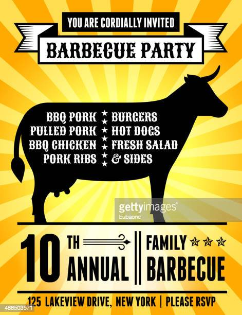 American 4th of July Barbecue Party with Cow Silhouette