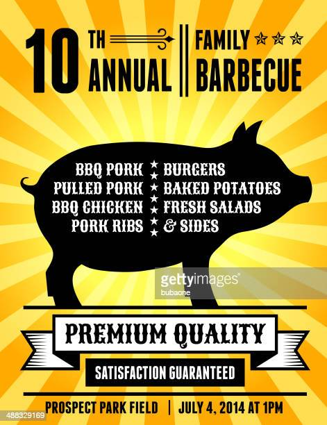 american 4th of july barbecue party with pig silhouette - shopping list stock illustrations, clip art, cartoons, & icons