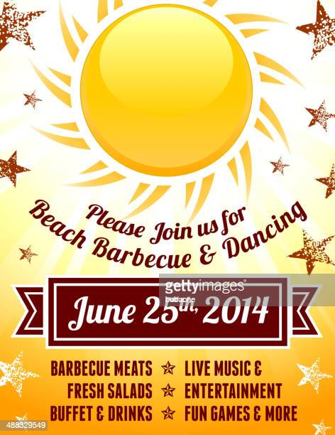 American 4th of July Barbecue Party with Sun Background