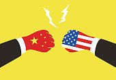 American and China business fighting with national flag,  vector illustration