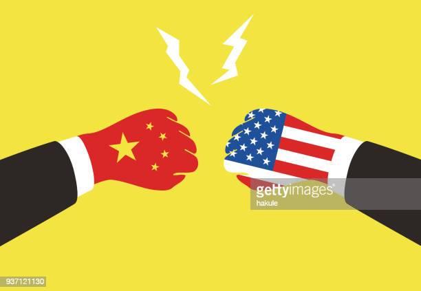 amerika und china unternehmen kämpfen mit nationalflagge, vektor-illustration - china stock-grafiken, -clipart, -cartoons und -symbole