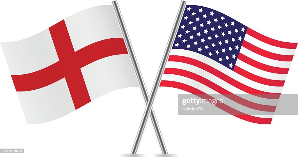 American and English flags. Vector.