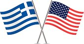 American and Greek flags. Vector.
