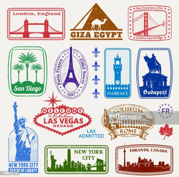 american and international famous travel destinations set - giza stock illustrations