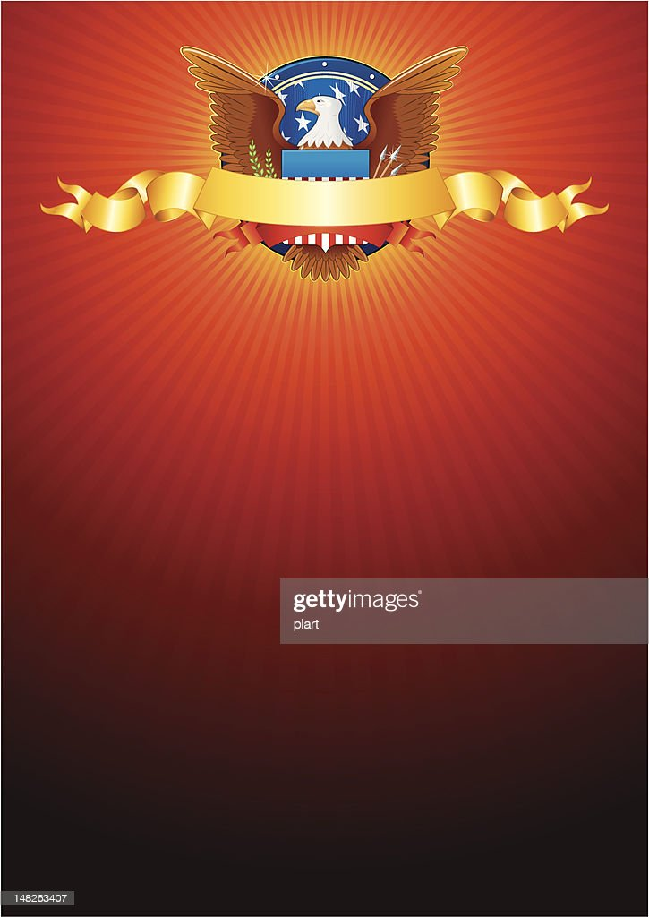 American background with eagle and golden ribbon