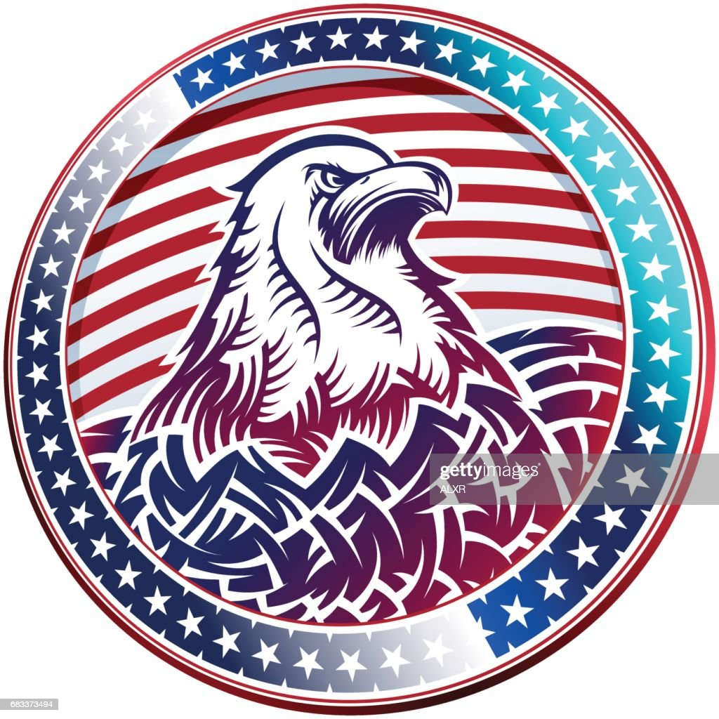 American Bald Eagle USA Natioal Symbol Fourth July Emblem Head