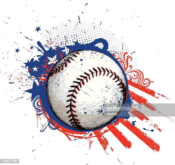 ilustraciones, imágenes clip art, dibujos animados e iconos de stock de de béisbol americana - pelota de béisbol