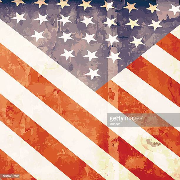american bright flag in grunge style - wood stain stock illustrations, clip art, cartoons, & icons