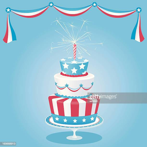 american cake - birthday cake stock illustrations, clip art, cartoons, & icons