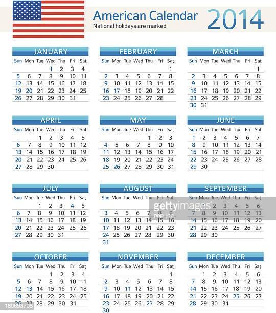 american calendar 2014 - 2014 stock illustrations