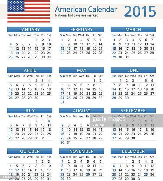american calendar 2015 - illustration - 2015 stock illustrations