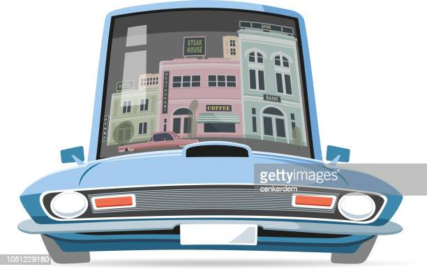 American car and city reflection
