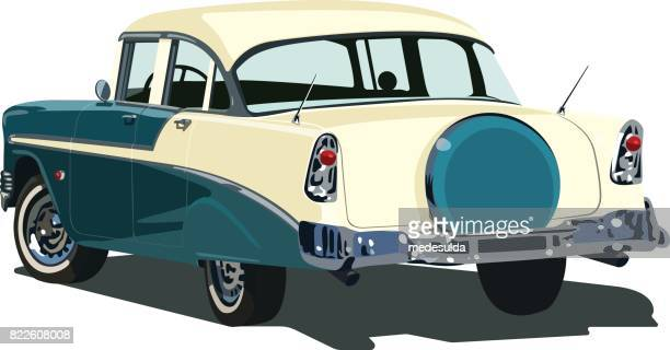 american car - double door stock illustrations, clip art, cartoons, & icons