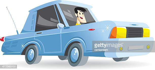 american car with driver - street racing stock illustrations, clip art, cartoons, & icons