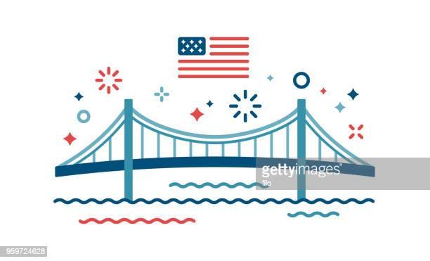 american celebration independence day bridge - bridge built structure stock illustrations, clip art, cartoons, & icons