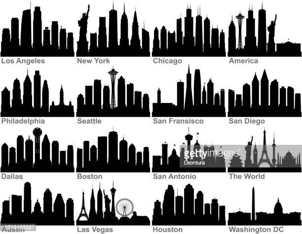 american cities (all buildings are complete and moveable) - urban skyline stock illustrations