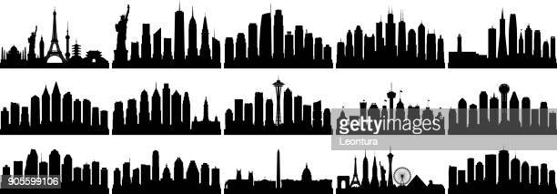 american cities (all buildings are complete and moveable) - skyline stock illustrations