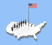 American citizens voting for USA election over an 3D US map with Flagpole