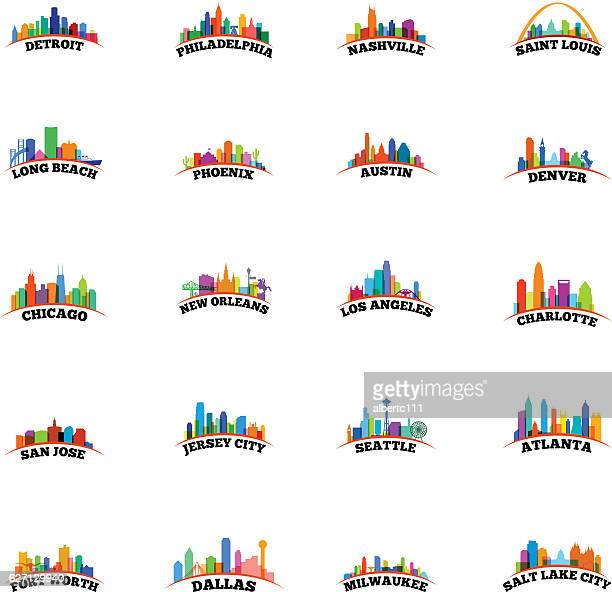 american cityscapes overlay - atlanta stock illustrations, clip art, cartoons, & icons