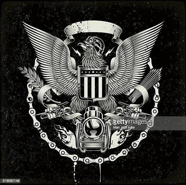 american coat of arms - biker eagle - hawk bird stock illustrations, clip art, cartoons, & icons