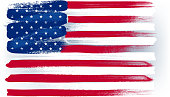 USA American colorful brush strokes painted flag