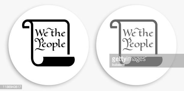 american constitution black and white round icon - historical document stock illustrations, clip art, cartoons, & icons